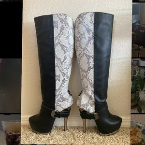 Knee high black and print boots
